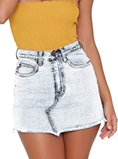 Women's High Waisted Jean Skirt Fringed Slim Fit Denim Mini Skirt