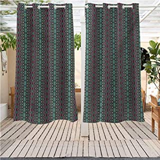 DONEECKL Vintage Pergola Curtains Outdoors Victorian Curls and Swirls with Geometric Rhombus Ornamental Illustration Pergola W63 x L72 inch Sea Green Dried Rose