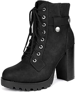 POLP Botines de Tac/ón Mujer Tac/ón Grueso Botines de tac/ón Alto con Cordones Zapatos de Plataforma Calzado Impermeable Zapatos Mujer Fiesta Cl/ásicas Tacon Ancho