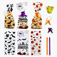 150 PCS Halloween Cellophane Snack Bags Clear Candy Cookie Treat Bags with Twist Ties for Bakery Biscuit Chocolate Snacks ...