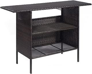Heaven Tvcz Outdoor Rattan Wicker Bar Counter Table Shelves Garden Patio Furniture Brown