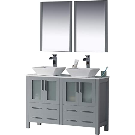 Amazon Com Blossom Sydney 48 Inches Double Bathroom Vanity Vessel Ceramic Sink With Mirror All Wood Metal Grey 001 48 15d 1616v Tools Home Improvement