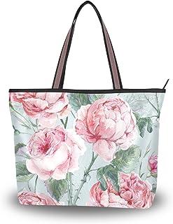 ALAZA Tote Schultertasche Aquarell Englische Rosen Vintage Blumenhandtasche Mittel