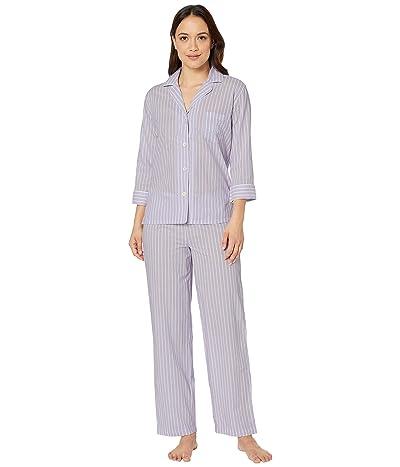 LAUREN Ralph Lauren Petite Classic Wovens 3/4 Sleeve Pointed Notch Collar Long Pants Pajama Set (Lilac Stripe) Women