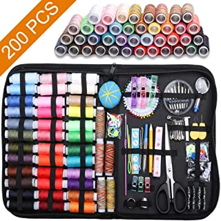 Sewing Kit, 200 Pcs Premium Sewing Supplies, 41 XL Thread Spools, Anti-Scratch Durable Oxford Sewing Kits for Adults, Sewing Set Suitable for Traveller, Emergency, Beginner, Kids, Home and DIY (L)