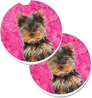 Caroline's Treasures Pink Yorkie Puppy/Yorkshire Terrier Set of 2 Cup Holder Car Coasters KJ1230PKCARC, 2.56, Multicolor