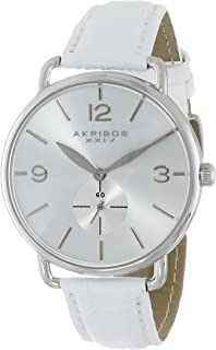 Akribos XXIV Women's 'Essential' Watch - Clear Dial with Large Hour Markers and Second Subdial on Croc-Embossed Leather Strap - AK658