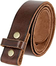 100% One-Piece Full Grain Leather Belt Strap with No Slot Hole 1 1/2