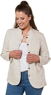 d47a4cbface17 Ulla Popken Femme Grandes Tailles Veste Blazer Courte, Coupe cintrée, Pur  Lin 718021