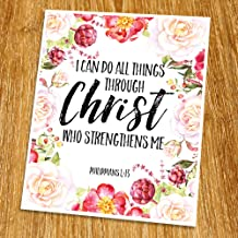 Philippians 4:13 I can do all things through Christ Print (Unframed), Living Room Decor, Scripture Wall Art, Bible Quote Print, Church wall decor, Wisdom Word, 8x10