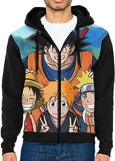 AWIHE Goku with Luffy, Ichigo and Naruto Zipper Hoodies Men Sweatshirts Pocket Tops Blouse