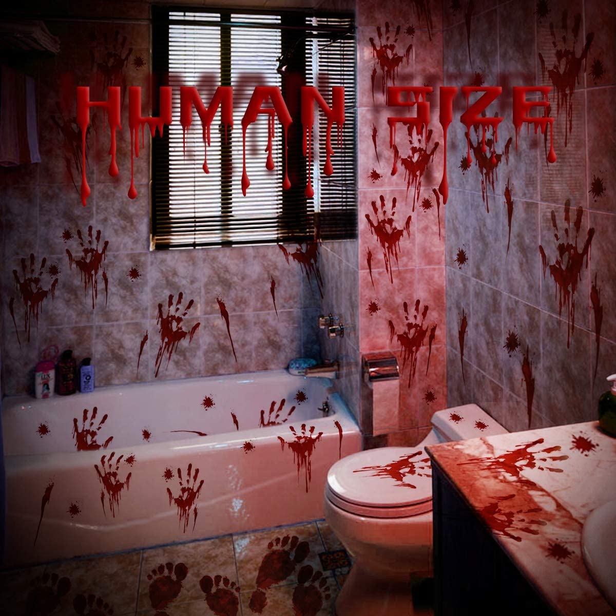 152PCS Halloween Bloody Window Footprint Stickers Direct stock discount Handpri New popularity