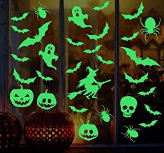 Halloween Decorations Glow in The Dark Halloween Wall Stickers Bats Spider Pumpkins Spooky Witch Ghost Scary Skeleton Deca...