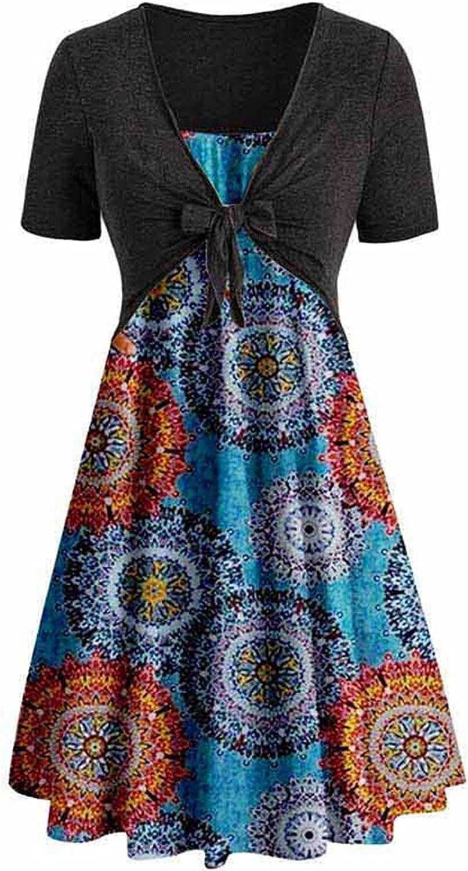 Summer Dress for Women Sunflower Floral Spaghetti Strap Dress Beach Sundress Swing Dress with Cardigan Tops