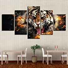 WFUBY Five Paintings Canvass Home Decor for Living Room HD Prints 5 Pieces Roaring Tiger Pictures Animal Poster Wall Artwork-30x40x2 30x60x2 30x80cm (no Frame)