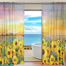 "SAVSV Window Sheer Curtains Panels Voile Drapes Morden Oil Painting Golden Sunflower 55"" W x 84"" L 2 Panels Great For Living Room Bedroom Girl's Room"
