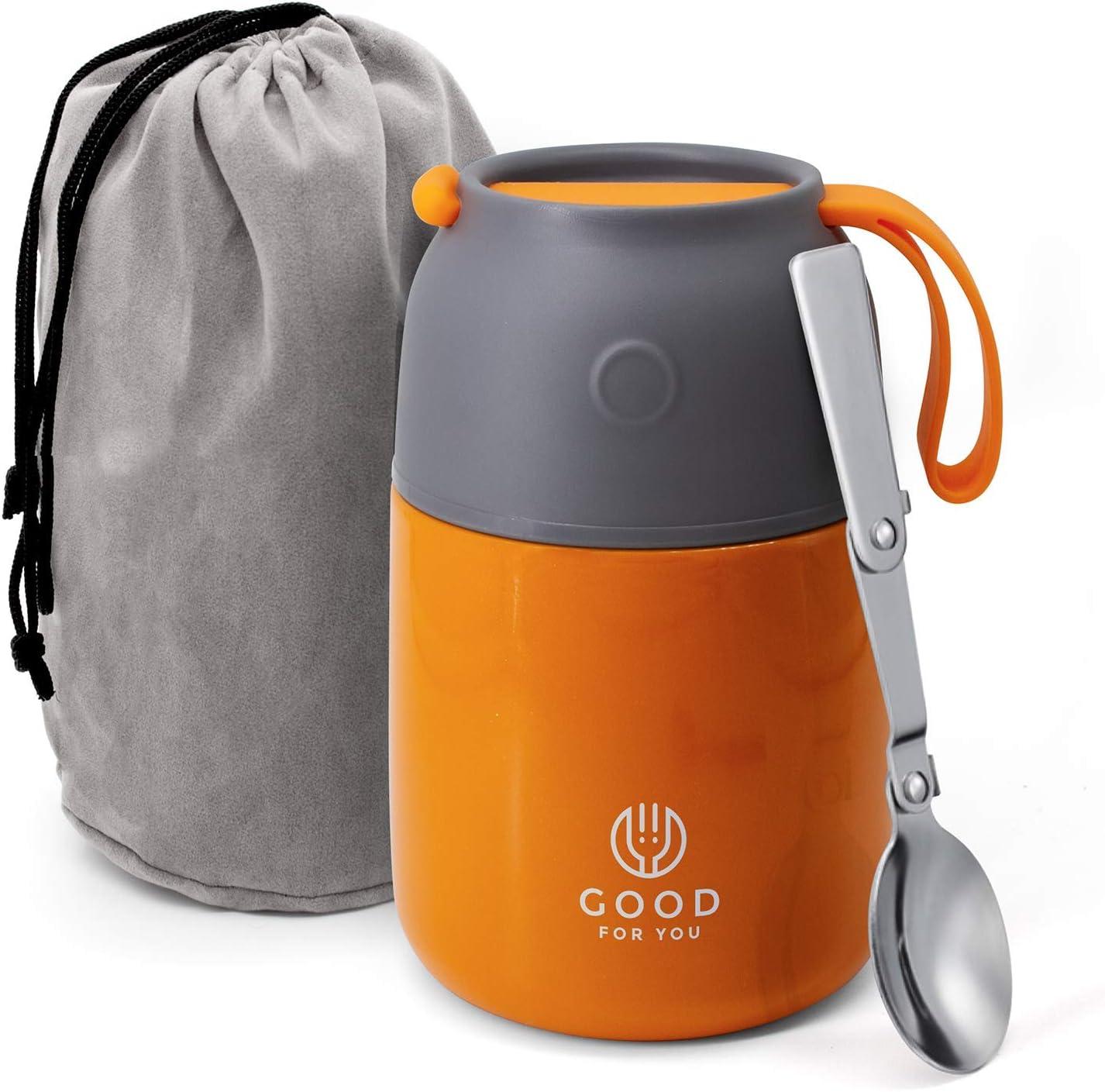 GOOD FOR YOU Termo de 530ml | Jarra térmica de metal con doble aislamiento para comida, café, agua, etc. Fiambrera bebé, niños, oficina, camping | Con cuchara, color Naranja