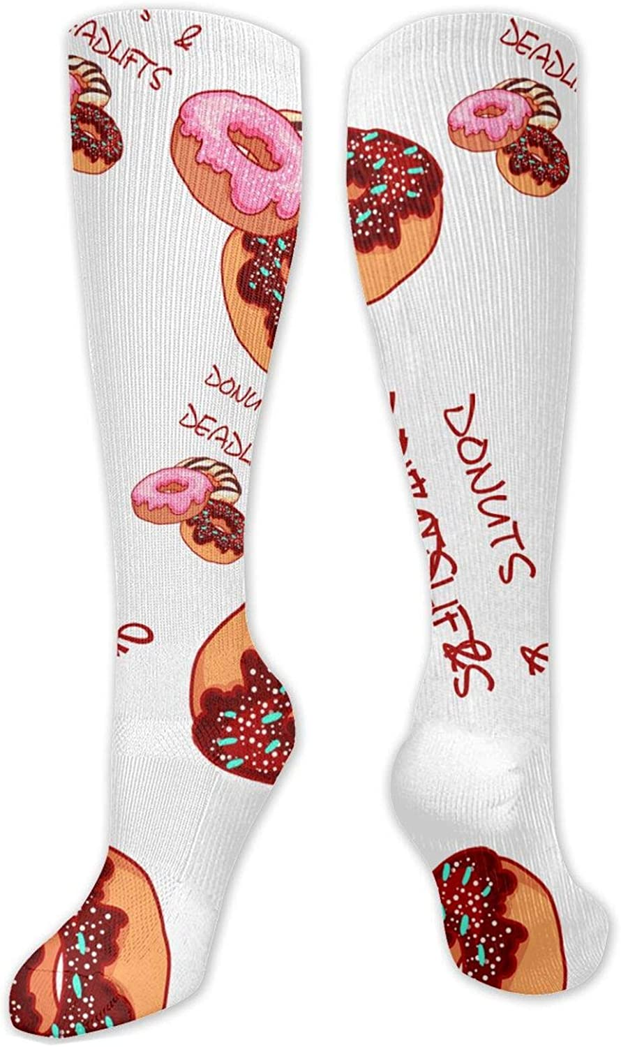 NiYoung Unisex Comfortable Athletic Socks Funny Funky Novelty Socks Over The Calf Tube Socks for Running, Athletic, Pregnancy and Travel (Donuts and Deadlifts)