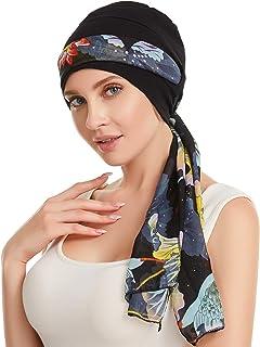 غطاء للرأس مبطن بالقطن والخيزران للنساء قبعة كيمو مع أوشحة من دوريل