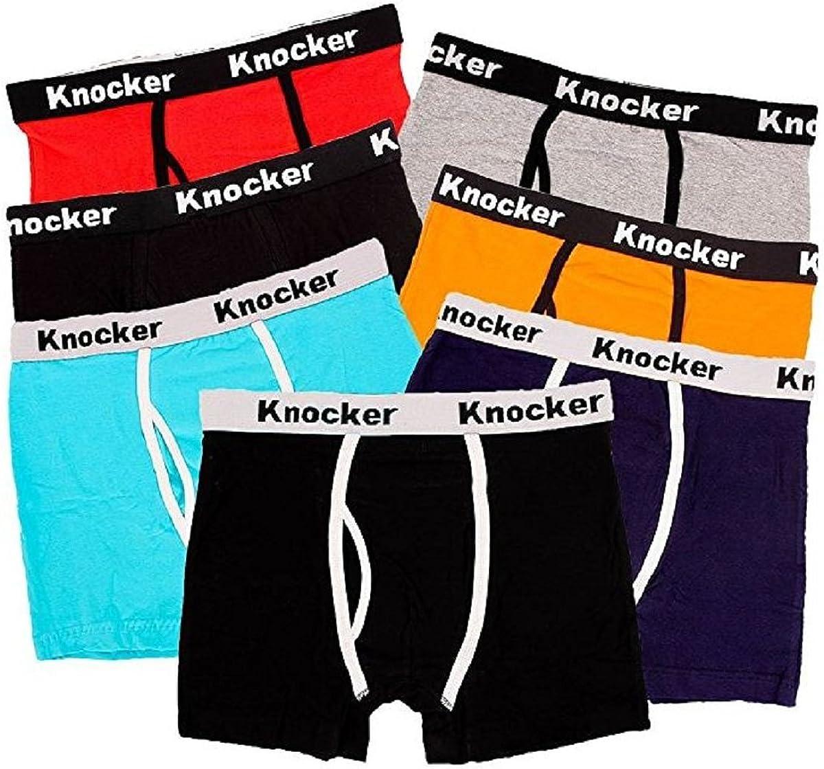 Knocker Men's 4 Pack of Stretch Cotton Color Boxer Briefs