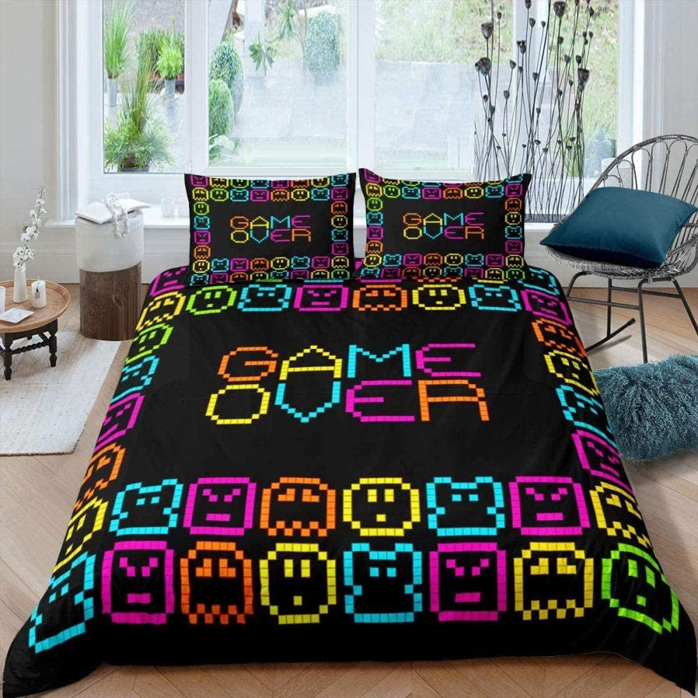 dsgsd cheap King Bed Duvet Our shop most popular Cover Set Game Pattern Pixel Colorful 259×2
