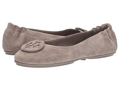Tory Burch Minnie Travel Ballet with Leather Logo (Gray Heron/Gray Heron) Women