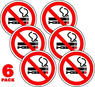 No Smoking No Vaping Stickers Car Window 2 in. Pack of 6- Ideal for Taxis, Rental Vehicles, and Company Vehicles