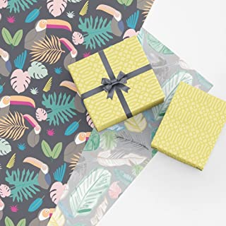 Tropical Gift Wrap Collection, 9 Folded Sheets of Tropical Themed Wrapping Paper, Easy to Store Folded Wrapping Paper, Made in America by REVEL & Co