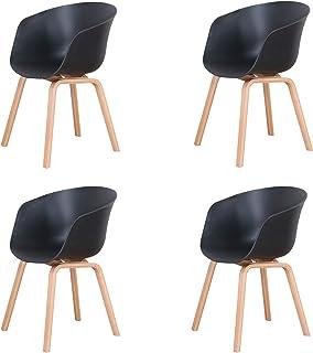 Uderkiny Ensemble de 4 Chaise chaises de Salle à Manger avec accoudoirs et Pieds en Bois adaptés aux chaises de Cuisine et...