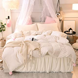 CHENFENG Luxury Plush Shaggy Faux Rabbit Hair Fur Duvet Cover Set 3 Pieces (1 Duvet Cover +2 Pom Pom Fringe Pillow Shams) Fluffy Pompoms Decorative Bedding Set(King, Beige)