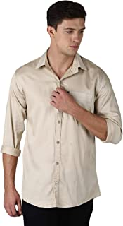LEVIZO 100% Cotton Twill Soft Finish Solid Casual Shirt Full Sleeves for Men