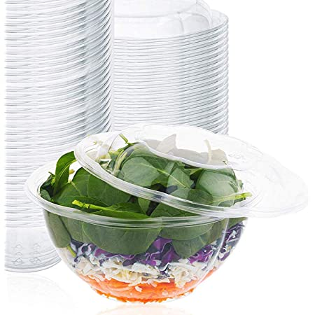 Amazon Com 32oz Salad Bowls To Go With Lids 300 Count Clear Plastic Disposable Salad Containers Airtight Lunch Salads Parfait Fruits Leak Proof Airtight Fresh Meal Prep Rose Bowl Container 32oz