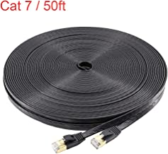 NCElec Flat STP Cat7 Ethernet Cable, Safe for in-Wall and Outdoor Use (50Ft, Black)