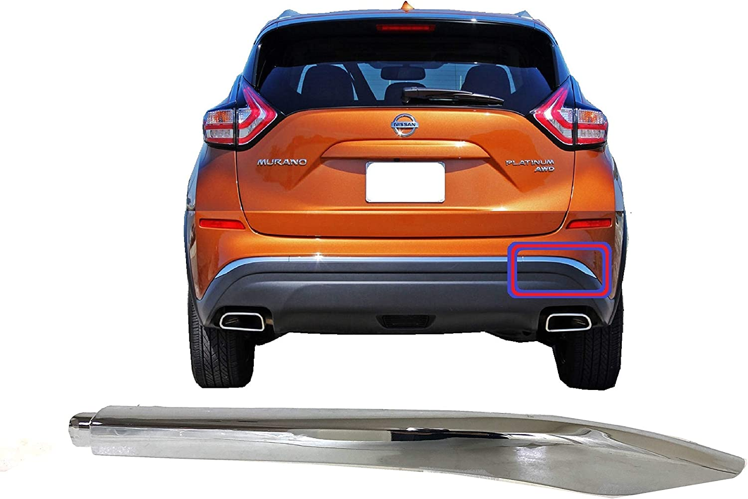 Fits Dealing full Department store price reduction 2015 2016 2017 2018 Murano Molding Chrome Lower Bumper Rear