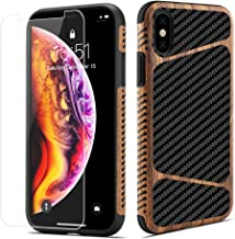 LCHULLE for iPhone X Case iPhone Xs Wood Case Carbon Fiber with Tempered Glass Screen Protector Hybrid Protection Slim Case Soft TPU Silicone Shockproof Protective Gel Case for iPhone X/Xs
