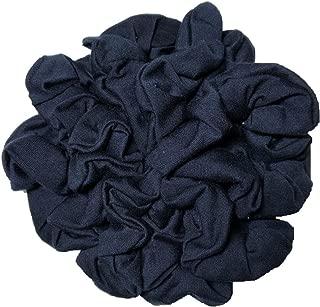 Navy Blue Scrunchie Set, Set of 10 Soft Cotton Scrunchies, Solid Color Packs (Navy Blue)
