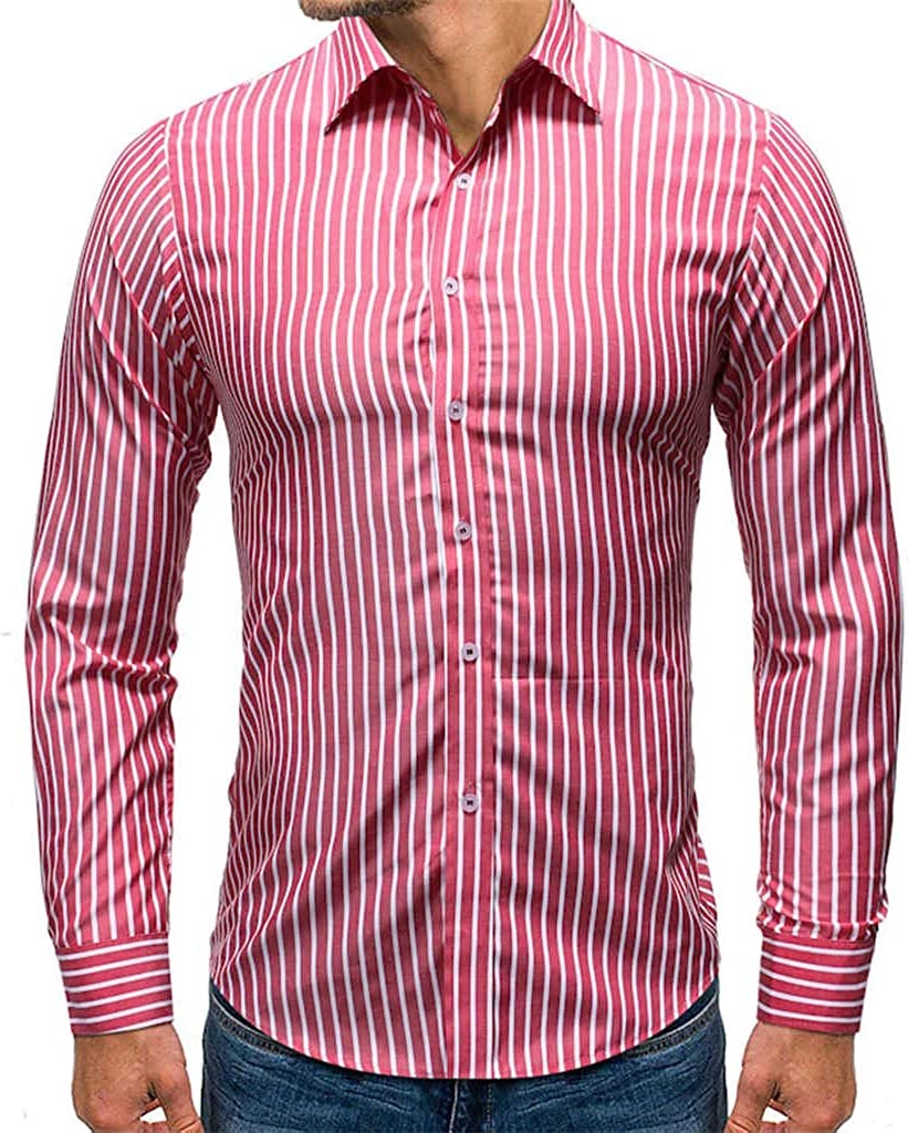 MODOQO Men's Slim Fit Casual Stripe Print Button Down Dress Shirt Long Sleeve Tops