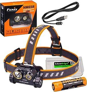 Fenix HM65R 1400 lumen dual beam LED Headlamp, high capacity rechargeable battery with EdisonBright battery carry case bundle