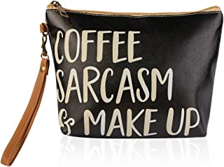 Cute Print Cosmetic Bag - Travel Makeup Organizer Message Pouch Toiletry Wristlet Purse Inspirational Quote/Sugar Skull/Mascara/Pineapple (Coffee Sarcasm & Make Up)