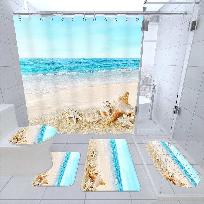 YINLAN Direct stock discount Bathroom Floor Mat Kit 5 Curtain wholesale Shower wit Pcs Set Beach