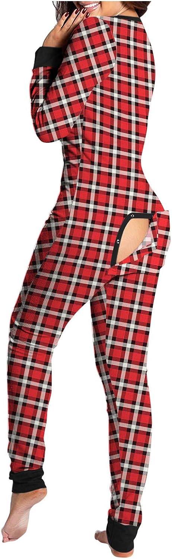 naioewe Womens Onesies Pajamas, Womens Onesie Pajamas with Back Functional Buttoned Flap Long Sleepwear Romper Jumpsuits