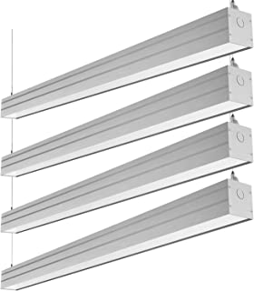Hykolity LED Architectural Suspended Linear Channel Light Linkable, 4FT 40W 3000K/4000K/5000K CCT Selectable, Dimmable Office Lighting Fixture for Commercial Places, 4600lm, ETL Listed, 4Pack