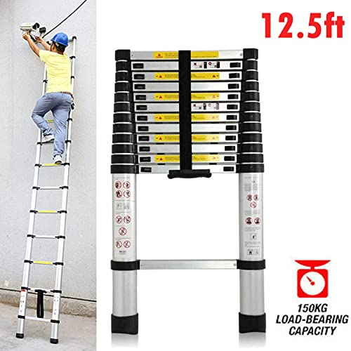 high quality Telescoping Ladder 12.5ft Aluminum online Extension Anti-Slip Steps with online sale Safety Locks Heavy Duty 330lb Max Load Capacity online sale