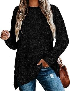 Womens Sweaters Crewneck Long Sleeve Side Slit Tunic Tops...