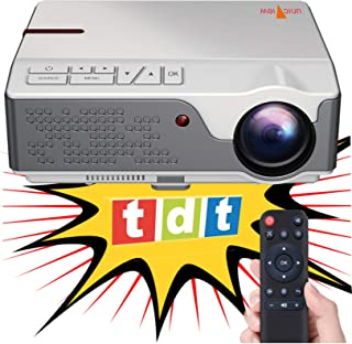 Beamer Nativer Full HD 1080P Projektor, Unicview FHD950 (1920 x 1080), 6.500 LED Lumen, günstige maximale Helligkeit des Projektors Tragbares LED Heimkino AC3 HDMI USB MKV TV integriertes (weiß)