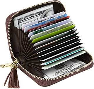 Women's RFID Blocking 15 Slots Card Holder Small Leather Accordion Wallet