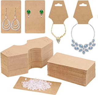 Earring Cards for Display, Anezus 200 Pack Earring Packaging Holder Cards with Necklace Display Cards and 200 Earring Back...