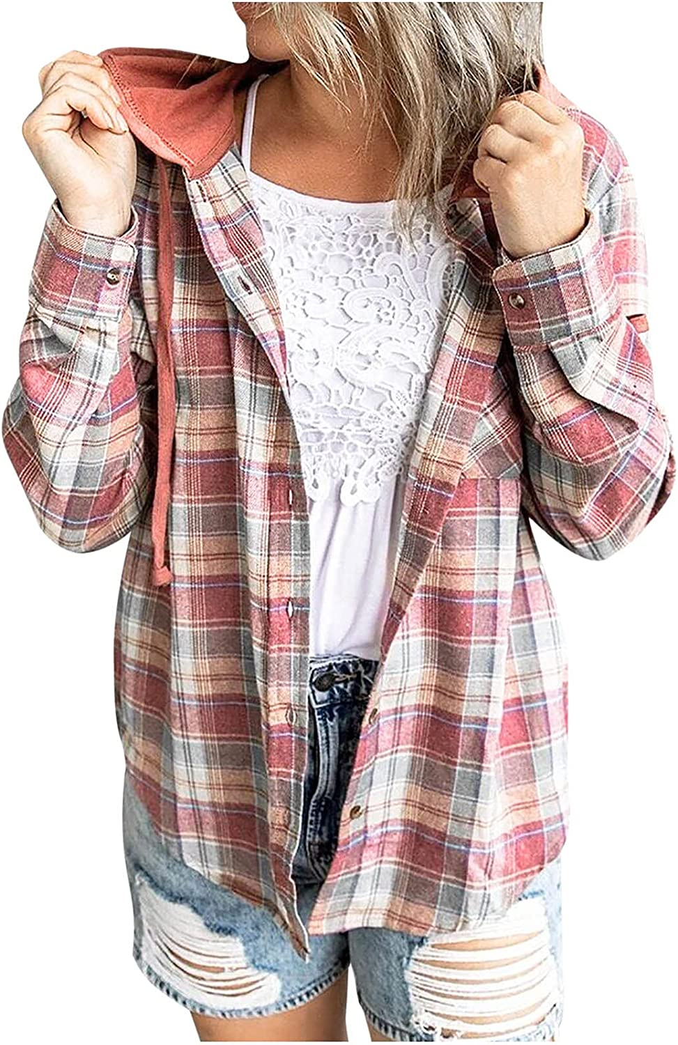 Women's Long Sleeve Drawstring Checked Hooded Jacket Cardigan Casual Button Down Plaid Shirts Hoodie