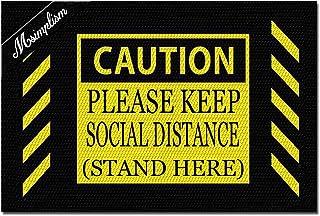Msimplism.D Home Decor Funny Doormat Caution Please Keep Social Distance Stand Here Monogram Doormat Indoor Outdoor Rubber...