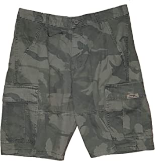Green Camo Camouflage Relaxed Fit at Knee Flex Cargo Shorts